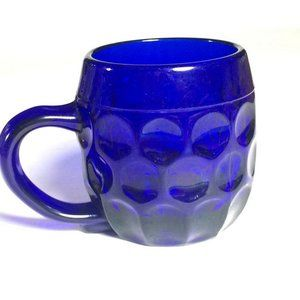 Vintage Cobalt Blue glass mug thumbprint mug cobal